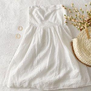 White Strapless Eyelet Dress